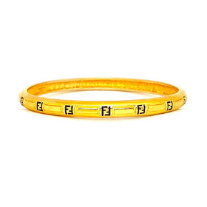 Fendi Vintage Zucca 18k Gold Plated Bangle Size L